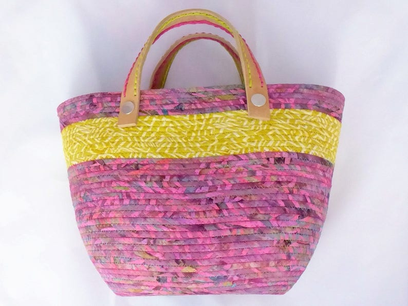 ON SALE Pink Batik and Lime Striped Coiled Fabric Tote Purse Travel Bag ships free! Beach Bag Shopping Tote