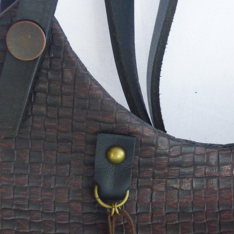 Basketweave Vegan Leather Tote