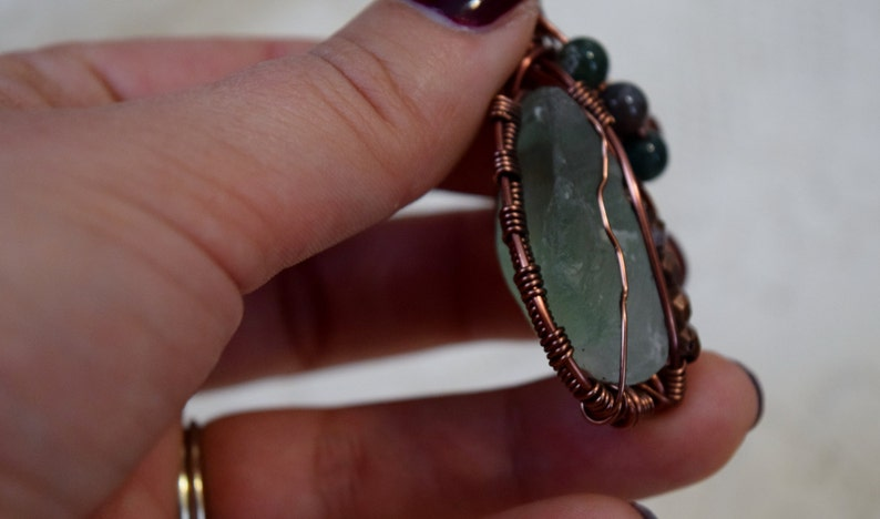 Fluorite Jasper Copper Wire Wrapped By Hand