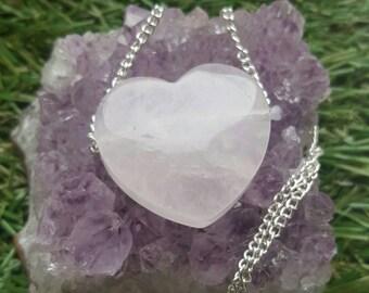 Rose Quartz Loveheart crystal healing necklace