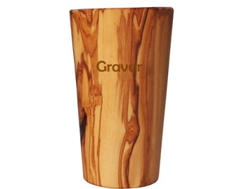 Toothbrush cup BIG with engraving made of olive wood