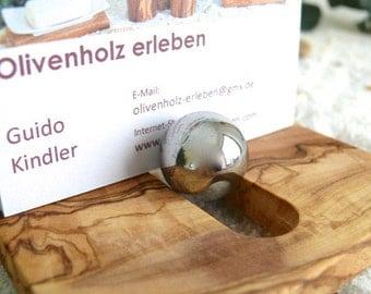 Holder for business cards made of olive wood