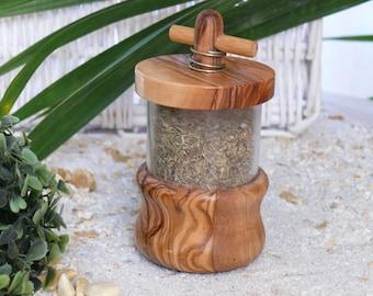 Olive wood herb grinder