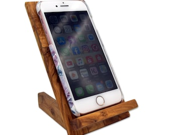 Mobile phone holder made of olive wood phone stand