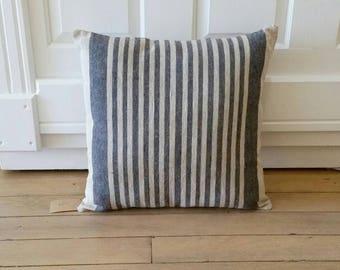 Blue Striped Pillow | Farmhouse Pillows | Burlap Grain Sack Pillows | Natural Linen Organic Flax Fabric | Farmhouse Decor | Feedsack