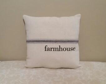 Farmhouse Style Grain Sack Pillows | Farmhouse Pillows | Farmhouse Decor | Grain Sack Pillow | Natural Decor | Country Home Decor | Rustic