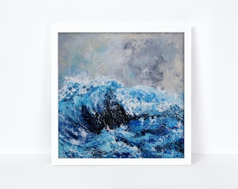 Abstract Blue Ocean Wave Painting Print Blue Seascape Textured Wave Art Print