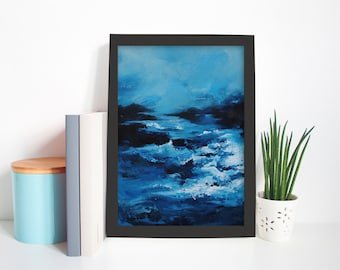 Abstract Blue Ocean Water Seascape Painting Sea Waves Blue Sky Art