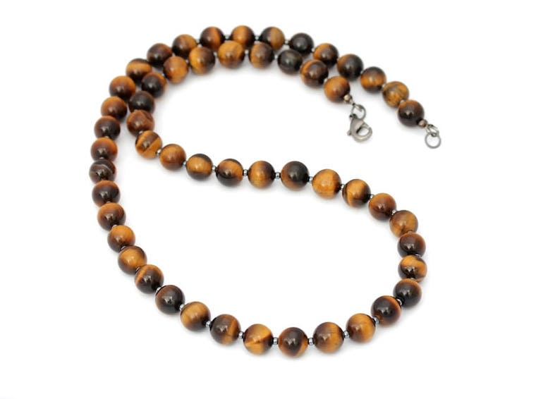 Yellow or Red Tiger Eye 8 mm Men\u2019s Necklace  Genuine Gemstone Men\u2019s Necklace  Choice of Length