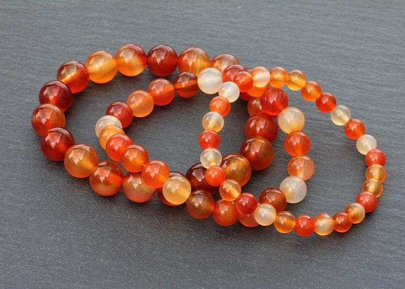 8 and 10 mm Orange Stone Bracelet  Men\u2019s Women\u2019s Stacking Bracelet Carnelian Gemstone Bracelet  6