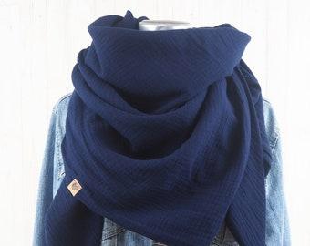 Cloth Triangular Cloth Muslin Ladies, Scarf dark blue, XXL Cloth made of cotton, Mamatuch