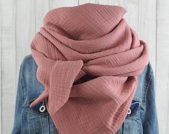 Cloth triangle cloth muslin ladies, scarf old pink, XXL cotton cloth, mama cloth