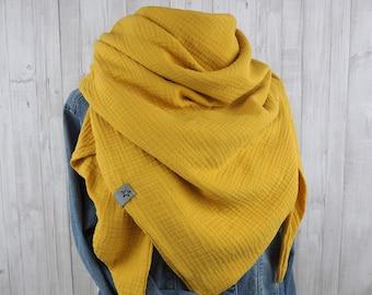 Cloth triangular cloth muslin ladies, scarf mustard yellow / yellow / curry, XXL cloth made of cotton, mama cloth