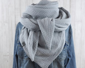 Cloth triangle cloth muslin ladies, scarf light grey, XXL cotton cloth, mama cloth