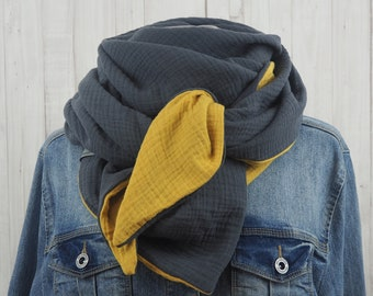 Cloth triangular towel muslin ladies, scarf mustard yellow grey, XXL cotton cloth