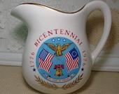 Vintage Bicentennial McCoy Pitcher, 1776-1976, McCoy Patriotic Pitcher, USA