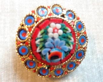 Vintage Micro Mosaic brooch, Tesserae brooch