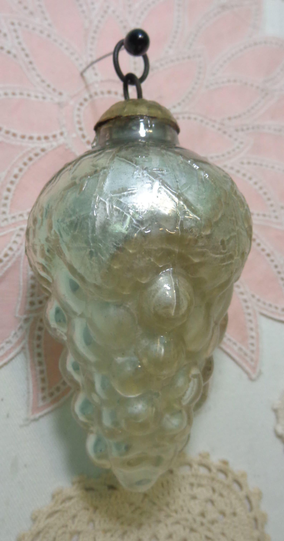 Antique Vintage German Kugel Glass Grapes Ornament Reproduction