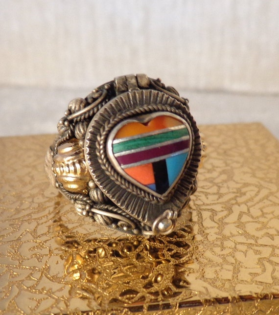 Vintage Sterling Turquoise Coral Poison Ring, Ster