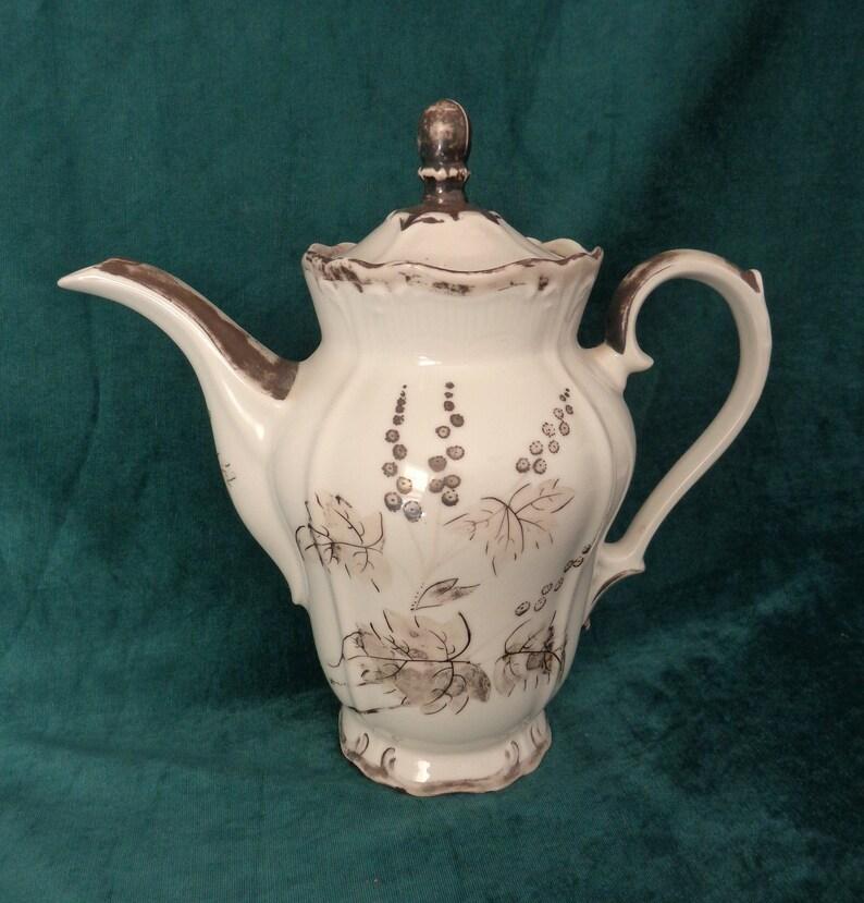 Vintage Rudolph Wachter RW Bavaria Coffee Pot Vintage Dekor RW Bavaria Silver Overlay Coffee Pot Silver Overlay