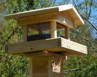 Post Mount Bird Feeder, Cedar Four Sided Bird Feeder ,Large Bird Feeder