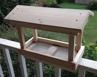 Cedar Deck Rail Bird Feeder with Roof ,Deck Rail Feeder