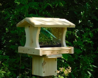 Post Mount Bird Feeder, Large Cedar Bird Feeder,Large Bird Feeder