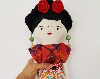 FRIDA KAHLO doll, Mexican art doll for collectors, Handmade 21'' Frida cloth doll, day of the dead