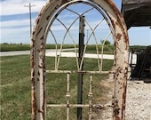 Wood Metal Architectural Window Wall Decor, Arched Church Cathedral Window Frame, Gothic Wall Hanging, Farmhouse Window Frame, Arched Window
