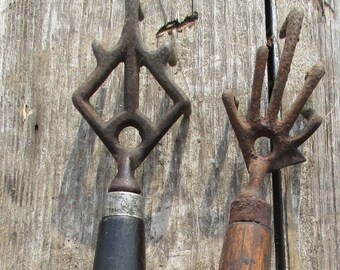 2 Hardware Store Nail Bin Rakes Blacksmith Counter Cabinet Claw Tongs Tool