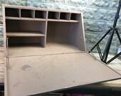 Slant Top Cubby Hole Cabinet, Wood Secretary Desk, Post Office, Railroad Cubby, Post Office Desk, Vintage Wood Office Cubby Organizer