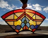 Window Panel Leaded Stained Glass Suncatcher Catholic Church Art Craft Vintage a, Stained Glass, Vintage Window, Vintage Stained Glass