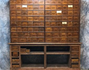 Exceptionnel Vintage Oak Hardware Store Cabinet, Showcase, Industrial Storage Parts  Cabinet, Apothecary, Multi Drawer, Wooden Organizer, File, Nuts Bolts