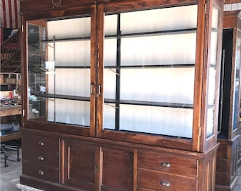 Antique Wood And Glass Display Cabinet Oak Store Showcase, Pharmacy  Apothecary A, Mercantile Store Display, Large Country Store Showcase