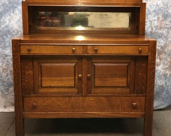 4u0027 Tiger Oak Sideboard Buffet Vintage Mirror Dining Room Table Dresser  Cupboard