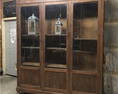 Antique Bookcase w Beveled Glass Doors, Display Cabinet Shelving, China Cabinet, Vintage Store Cabinet Showcase, Back Bar, Storage Cabinet