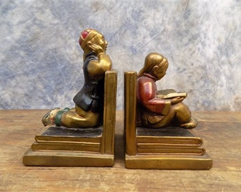 1939 Armor Bronze Clad Boy Girl Chinese Bookends Metal Vintage Library  Brass, Vintage Bookends, Chinese Home Decor
