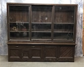 Country Store Display Cabinet Pantry, Sliding Doors Showcase, Back Bar, Bookcase, Antique, Vintage, Apothecary, Storage Cabinet, Pharmacy