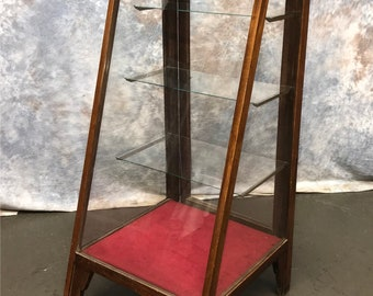 Slant Front Showcase, Oak Country Store Display Case Cabinet, Vintage Floor  Showcase, Antique Display Cabinet, Mercantile Cabinet Showcase