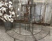 Pair of Vintage French Metal Plant Stands Mid Century 3 Tiers Garden Plant Stand, Outdoor Plant Stand, Victorian, Tiered Display Stand