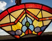Window Panel Leaded Stained Glass Suncatcher Catholic Church Art Craft Vintage d, Stained Glass, Vintage Window, Vintage Stained Glass