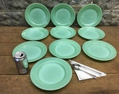 10 Jadeite Fire King Oven Ware Plates, 9 Inch Restaurant Ware Dinner Plates, Vintage Fire King, Oven Ware, Jadeite Dinner Plates