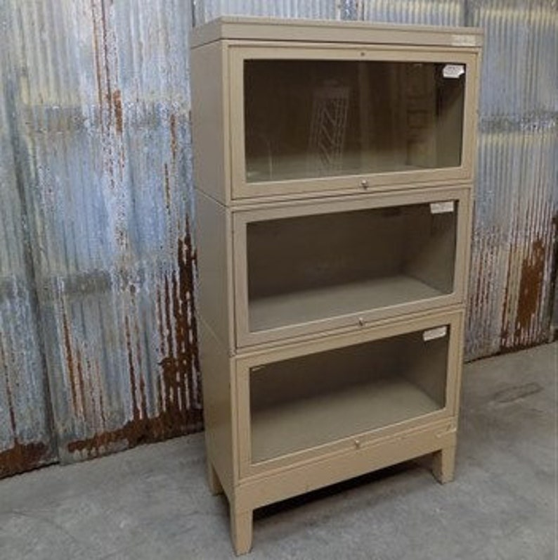 low priced e2b31 7cf65 Vintage 3 Tier Metal Barrister Bookcase, Industrial Stacking Bookcase  Cabinet a Lawyers Bookcase, Glass Doors, Mid Century Storage Cabinet