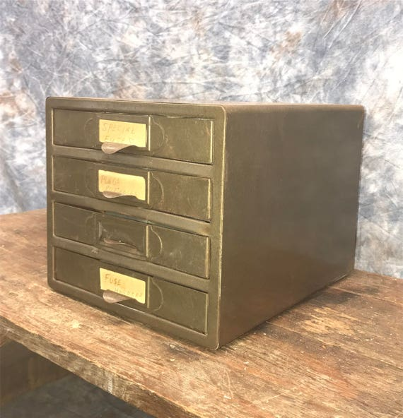 4 Drawer Small Metal Filing Cabinet File Vintage Storage Card | Etsy