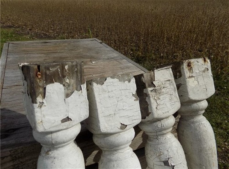 Wooden Balusters Vintage Wood Spindles 4 Balusters White Wood Architectural Salvage Spindles Porch Post House Trim N Rustic Farmhouse