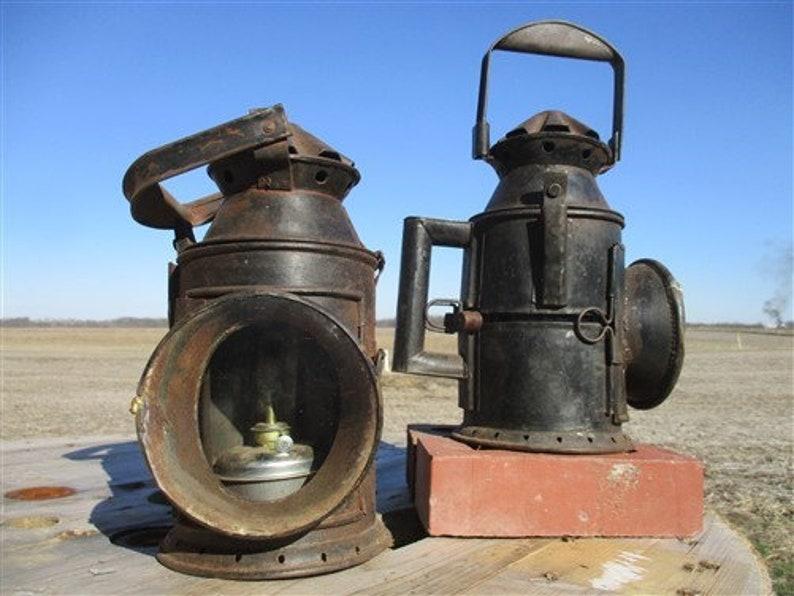 Pair Railroad Signal Lanterns, Railroad Lamp Light, Kerosene Lantern Green  Red Lens, Railroad Decor, Railway Lamp, Industrial Lamp Farmhouse