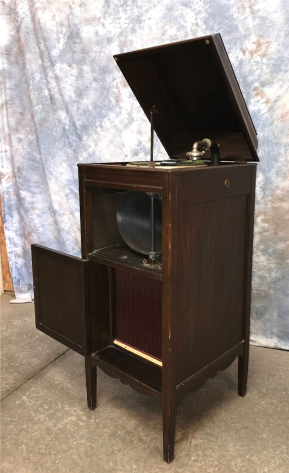 edison no 18 disc phonograph cabinet vintage record player 87976