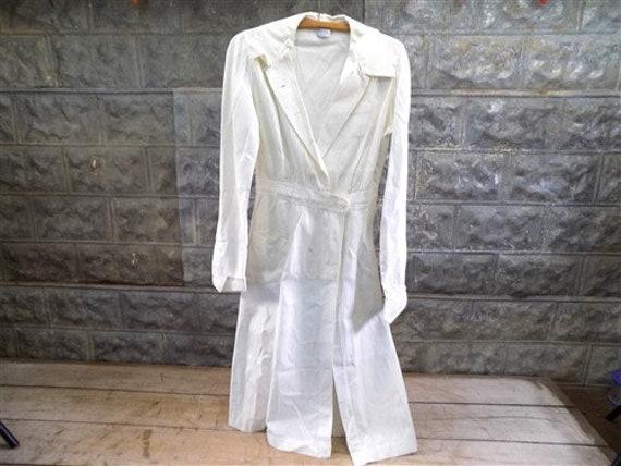 Vintage 1940s White Nurse Uniform Dress Jacket, WW