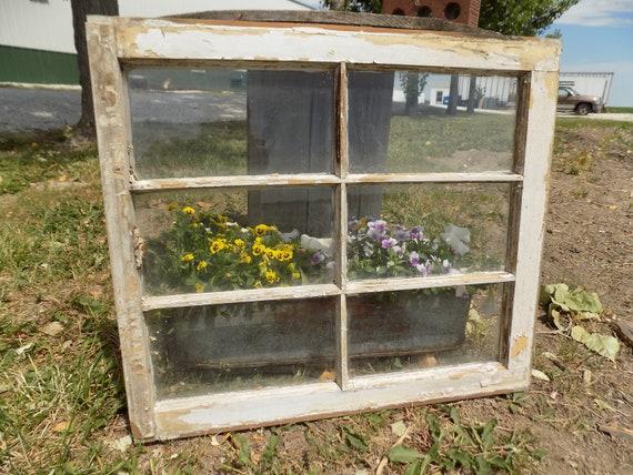Vieux Bois Fenêtre Cadre 6 Verre Volets Rustique Ferme Maison Decor