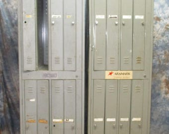 Gray 12 Door Metal Gym Locker Room School Business Industrial Age Cabinet,  Vintage Metal Lockers